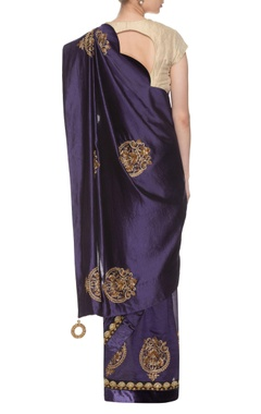 Dark blue embroidered sari