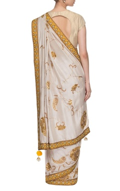 Ivory & chrome yellow embroidered sari