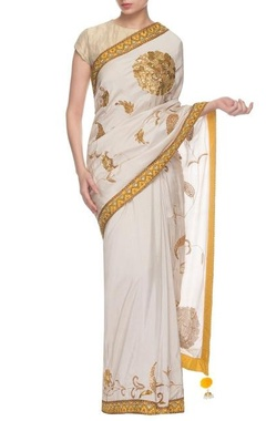 Gazal Gupta Ivory & chrome yellow embroidered sari