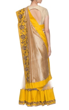 Beige & chrome yellow embroidered lehenga sari