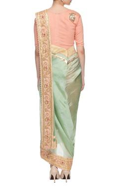 sea green & peach embroidered dhoti sari
