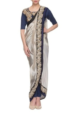Grey & royal blue embroidered dhoti sari