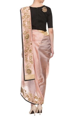Light pink & black embroidered dhoti sari