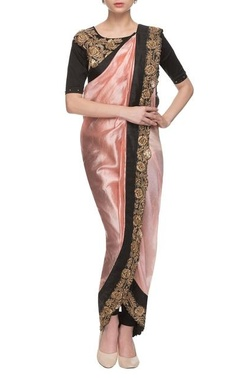 Pink & black rose embroidered dhoti sari