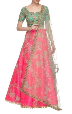 Gazal Gupta Pink & sea green embroidered lehenga set