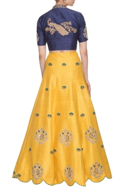 Royal blue & chrome yellow peacock embroidered lehenga set