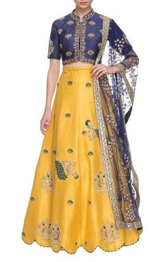 Gazal Gupta Royal blue & chrome yellow peacock embroidered lehenga set
