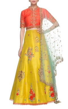 Gazal Gupta Yellow, orange & powder blue lehenga set