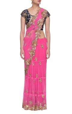 Rani pink & navy blue floral embroidered lehenga sari set