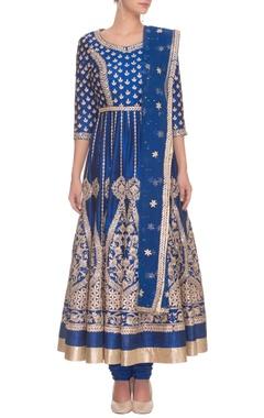 deep blue & gold gota embroidered anarkali set
