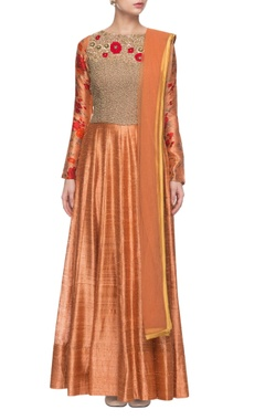 orange floral printed & embroidered anarkali set