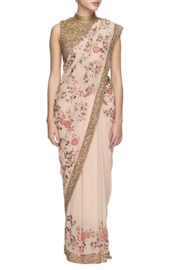 peach floral threadwork embroidery with shimmer blouse