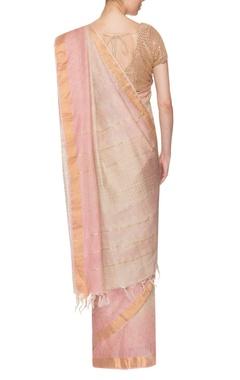 light pink & golden border handwoven sari