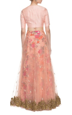 peach floral printed & embroidered lehenga set