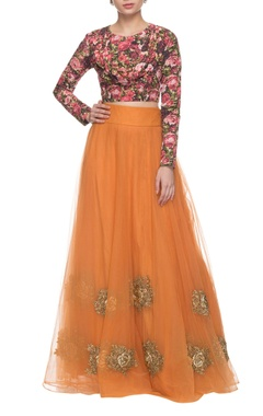 floral printed & orange embroidered lehenga set