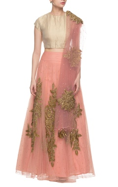 Peachy pink & golden embroidered lehenga set