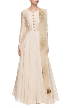 Ivory & golden embroidered anarkali with dupatta