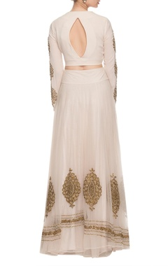 ivory & golden motif embroidered lehenga set