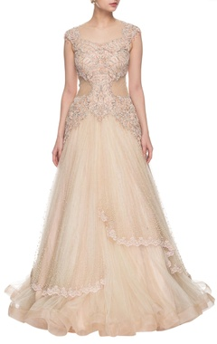 light peach embellished layered gown
