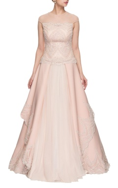 light pink embroidered layered gown