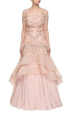 blush pink embellished strap gown