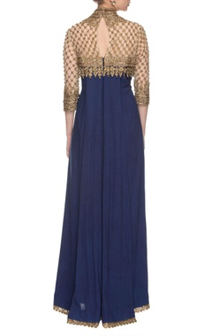 Royal blue & golden embroidered yoke kurta set