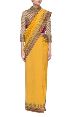 Anand Kabra Yellow & dark pink embroidered sari
