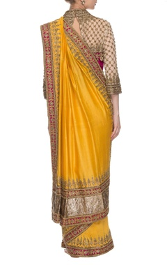Yellow & dark pink embroidered sari