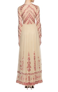 beige & red mirror embellished dress