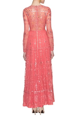 Coral pink mirror embellished dress