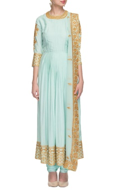 Nidhi Tholia sky blue kurta set with gold thread work