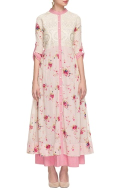 white & pink layered floral print dress