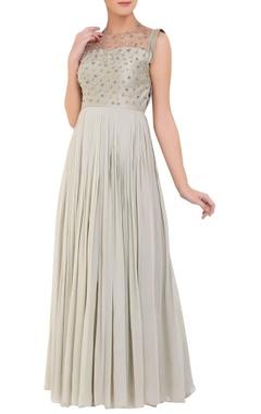 grey zardozi work gown