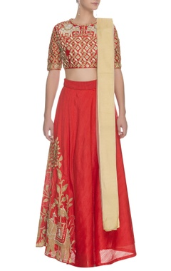 Red floral & elephant embroidered lehenga set