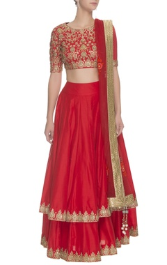 Crimson & gold floral embroidered lehenga set