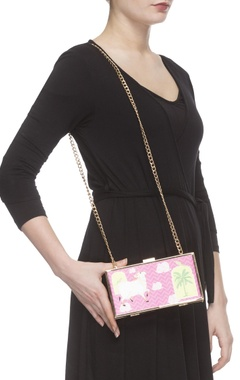 Pink digital printed clutch with sling chain