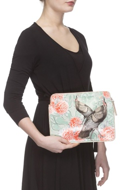 Sea green & coral digital printed purse