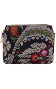 Casa Pop Black floral zari threadwork purse