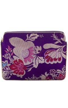 Casa Pop Purple floral zari threadwork purse