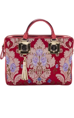 Casa Pop Red zari threadwork laptop bag