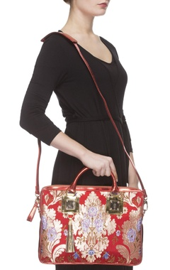 Red zari threadwork laptop bag