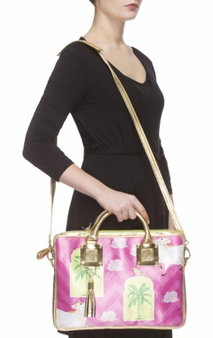 Pink digital printed laptop bag