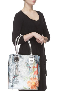 Ice blue digital printed tote