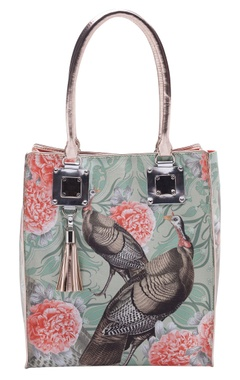 Casa Pop Sea green & coral digital printed tote bag