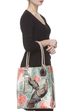 Sea green & coral digital printed tote bag