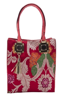 Casa Pop Red zari threadwork tote bag