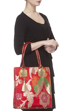 Red zari threadwork tote bag