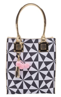 Casa Pop Black & white geometric handbag