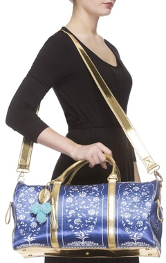 Royal blue digital printed handbag