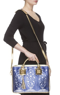 Royal blue digital printed laptop bag